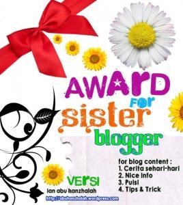 Award sister blogger dari kang ian